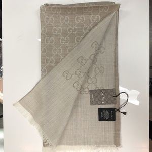 Gucci Accessories - Gucci Stole Monogram GG Beige Wool Silk New